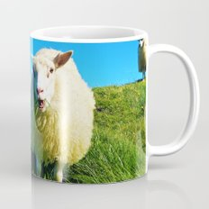 Sheeps in Iceland with Green Field Mug