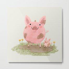 Piggies in a Mud Puddle Metal Print