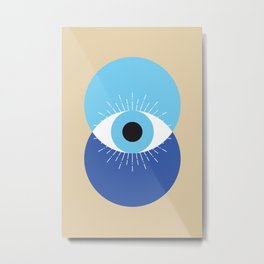 Evil Eye Symbol Mid Century Modern Art 70s Style Metal Print
