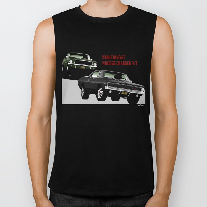 Ford Mustang and Dodge Charger from Bullitt Biker Tank