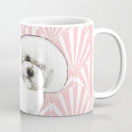 Bichon Frise at the beach / seashell pink Coffee Mug