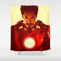 robert downey jr Shower Curtains featuring Iron Man *** by Hands in the Sky