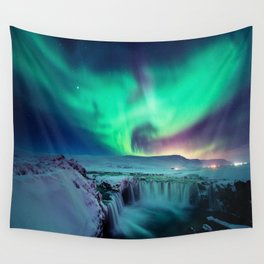 Aurora Borealis Over A Waterfall Wall Tapestry