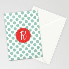 Monogram Initial R Polka Dot Stationery Cards