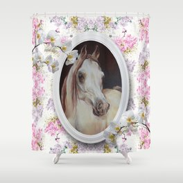 White orchids & Arabian mare Shower Curtain