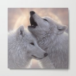 Wolves Howling Moon - Love Song Metal Print