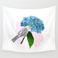 hydrangea Wall Tapestries featuring hydrangea by bloomingj