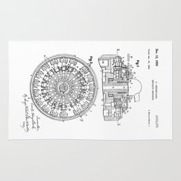 Curta Mechanical Calculator Patent Drawing (2 of 3) Rug