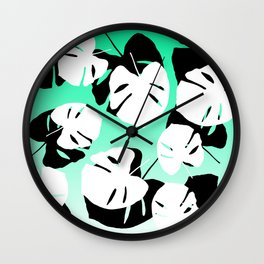 Modern black white monstera tropical leaf on green white gradient Wall Clock