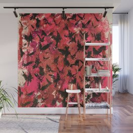 Flocking  on Setting Sky-Reds Wall Mural