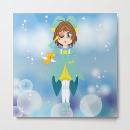 Mini Me Stars: Green Sakura Metal Print