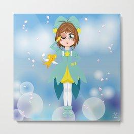 Mini Me Stars: Green Sakura Metal Print