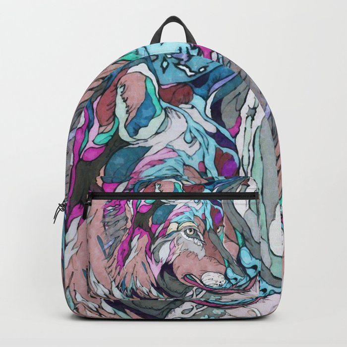 Colorful Wolf Backpack