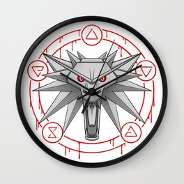 Witcher White Wolf Signs Medallion Wall Clock