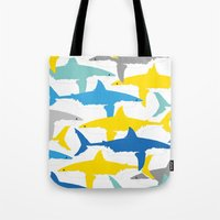sharks Tote Bags featuring Sharks  by BRITADESIGNS
