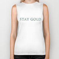 stay gold Biker Tanks featuring STAY GOLD by Josephine