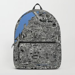 Map of London Thames Drawing Backpack