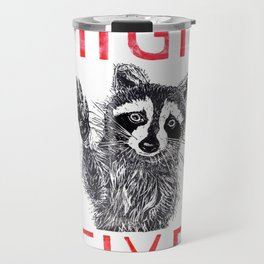 Raccoon High Five  Travel Mug