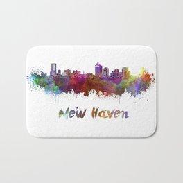 New Haven skyline in watercolor Bath Mat