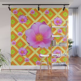 Yellow Pattern Lime on Pink Rose Abstract Wall Mural