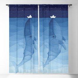 Whale blue ocean Blackout Curtain