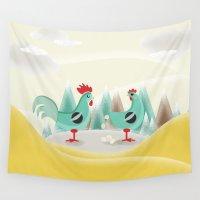chicken Wall Tapestries featuring Chicken by Ewelina Gaska