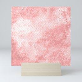 Rose quartz chevron pattern with grunge texture Mini Art Print