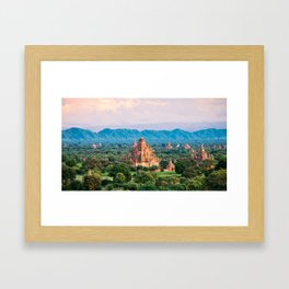 Temple glows in the fields of Bagan Fine Art Print Framed Art Print