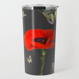 RED POPPY FLOWER & GREY BUTTERFLIES Travel Mug