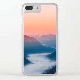 Foggy river Soča at sunrise Clear iPhone Case