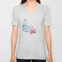 Pristine Succulents Blue and Pink Unisex V-Neck