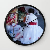 mary poppins Wall Clocks featuring Mary Poppins by Christa Morgan ☽