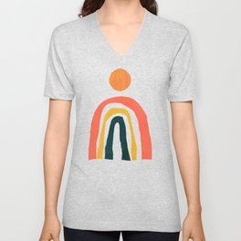 Sunrise over rainbow hill Unisex V-Neck