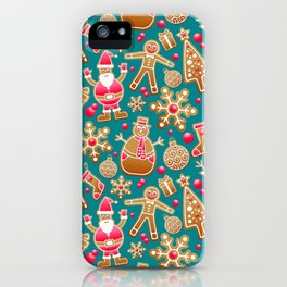 Cute Christmas Gingerbread Cookie Pattern iPhone Case