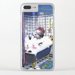 Sheepadoodle taking a bath Clear iPhone Case
