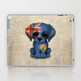 Cute Puppy Dog with flag of Turks and Caicos Laptop & iPad Skin