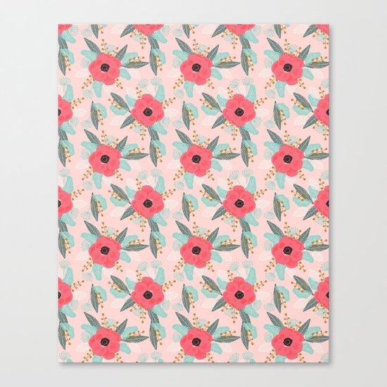 Poppies pink pastel red florals flowers pattern boho dorm college trendy garden plants poppy flower Canvas Print