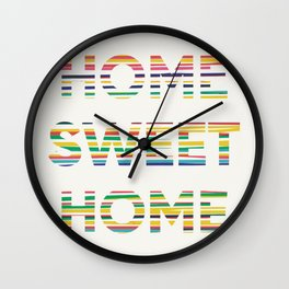 Home sweet home typography Wall Clock