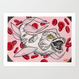 """Koi Series,  """"And I saw a White Horse, and his name it said on it was Pestilence"""" Art Print"""
