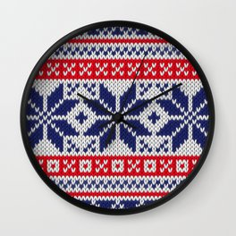 Winter knitted pattern 7 Wall Clock