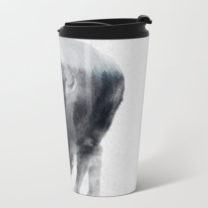 Bison In Mist Metal Travel Mug