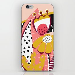 Collage Flowers pink, gold, white, black iPhone Skin