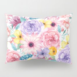 Modern elegant pink lavender yellow watercolor floral Pillow Sham