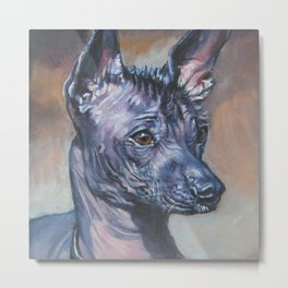 Mexican Hairless dog xolo Beautiful Fine Art Dog Painting from an original painting by L.A.Shepard Metal Print