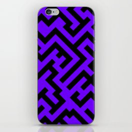 Black and Indigo Violet Diagonal Labyrinth iPhone Skin