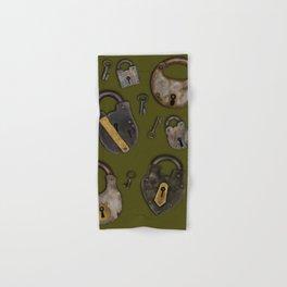 Padlocks & Keys on Olive Hand & Bath Towel