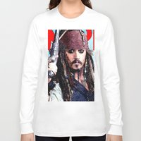 jack sparrow Long Sleeve T-shirts featuring Jack Sparrow by Brian Raggatt
