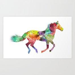 Rainbow Watercolor Horse (Color) Art Print
