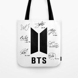 bts signatures black Tote Bag