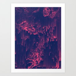 Glitchin' - Abstract Pixel Art Art Print